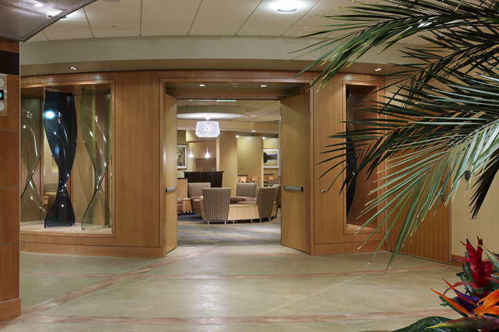 Modern waiting room at the George and Julia Argyros Health Center