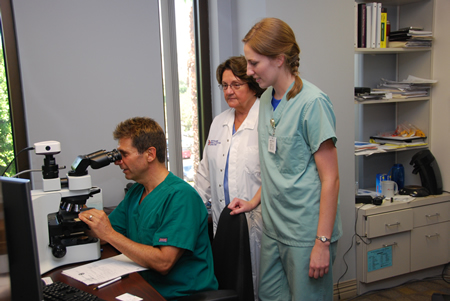 School of Medical Technology students learning to use microscopes